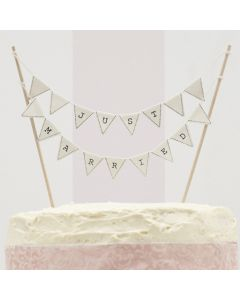 Just Married Cake Bunting - Ivory - Vintage Lace