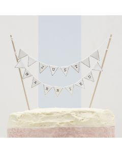 Just Married Cake Bunting Topper - White - Vintage Lace