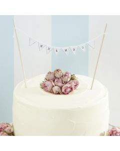Mr and Mrs Wedding Cake Bunting - White - Vintage Lace