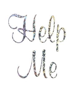 'Help Me' Wedding Shoe Sticker Silver Sparkles