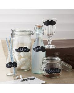 Moustache Chalkboard Labels on Jars