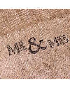 Mr & Mrs Hessian Gift Sack with Heart Tag
