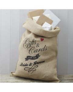 Bride & Groom Hessian Gift Sack with Tag