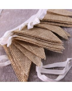 Plain Hessian Burlap Bunting (Small Flags)