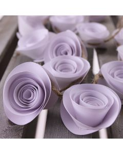 Paper Flower Garland Decoration - White - Rose Detail