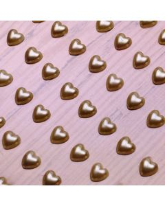 6mm Pearl Heart Adhesives - Gold - Zoom
