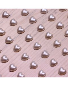 6mm Pearl Heart Adhesives - Ivory - Zoom