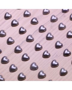 6mm Pearl Heart Adhesives - Silver - Zoom
