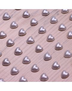 6mm Pearl Heart Adhesives - White - Zoom