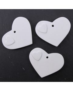 Ceramic Tags (Hearts Small) - Pack of 3