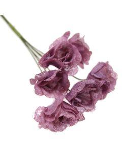 Hessian Shabby Chic Rose Flowers - Mauve