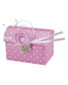 Hot Pink Polka Dot Chest Favour Box (Pack of 10)