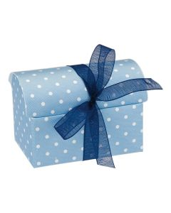 Blue Polka Dot Chest Favour Box (Pack of 10)