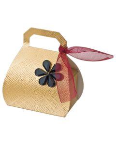 Gold Silk Handbag Favour Box (Pack of 10)