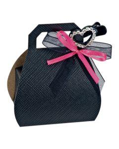 Black Silk Handbag Favour Box (Pack of 10)