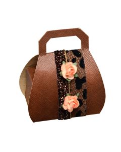 Brown Silk Handbag Favour Box (Pack of 10)