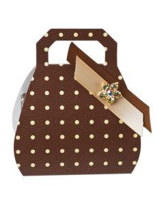 Brown Polka Dot Handbag Favour Box (Pack of 10)
