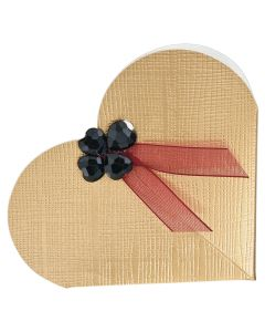 Gold Silk Heart Favour Box (Pack of 10)