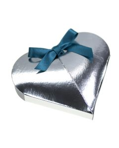 Silver Lari Heart Favour Box (Pack of 10)