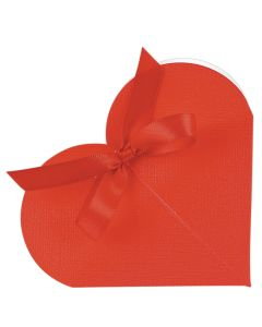 Red Silk Heart Favour Box (Pack of 10)