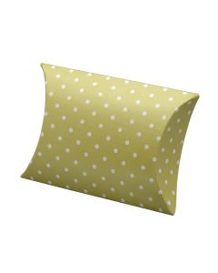 Moss Green Polka Dot Pillow Favour Box (Pack of 10)