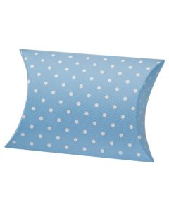 Blue Polka Dot Pillow Favour Box (Pack of 10)