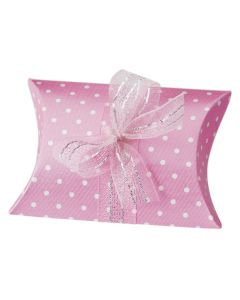 Hot Pink Polka Dot Pillow Favour Box (Pack of 10)