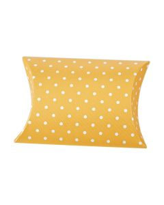 Gold Polka Dot Pillow Favour Box (Pack of 10)