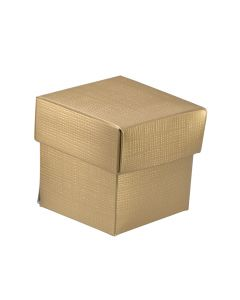 Gold Silk Square Favour Box (Pack of 10)