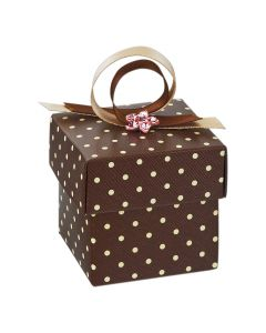 Brown Polka Dot Square Favour Box (Pack of 10)
