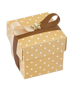 Coffee Polka Dot Square Favour Box (Pack of 10)