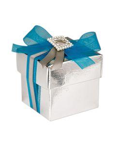 Silver Lari Square Favour Box (Pack of 10)