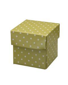 Moss Green Polka Dot Square Favour Box (Pack of 10)