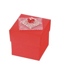 Red Silk Square Favour Box (Pack of 10)