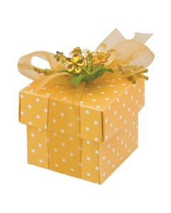 Gold Polka Dot Square Favour Box (Pack of 10)