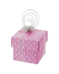 Pink Polka Dot Square Favour Box (Pack of 10)