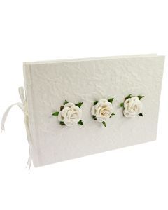 Decorated Mulberry Guest Books - Rose Trio Mulberry Guest Book - Ivory