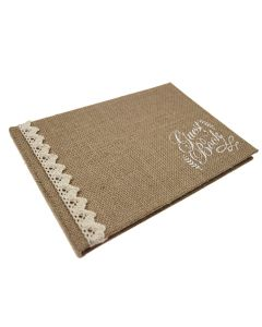Hessian and Cotton Lace Guest Book with Kraft Box