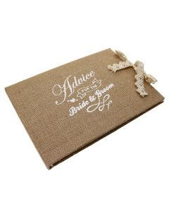 Advice for the Bride & Groom Hessian Guest Book