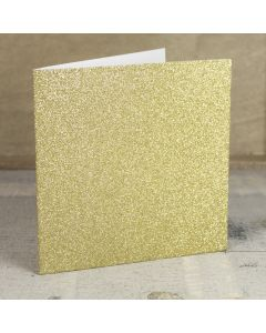 Creased Card Large Square - Gold Glitter Card