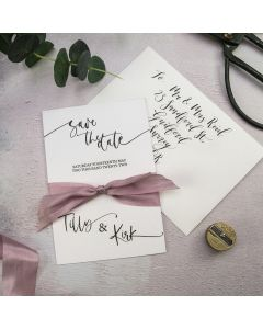 Calligraphy Style A6 Save the Date Card Recipe