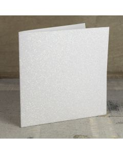 Creased Card Large Square - Iridescent White Glitter Card