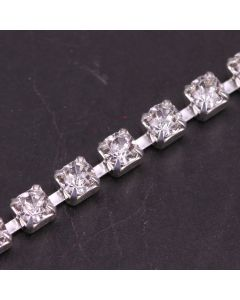 Single Row 3mm Diamante Trim (Clear Crystals - Silver)