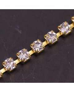 Single Row 3mm Diamante Trim (Clear Crystals - Gold)