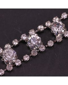 Triple Row Diamante Trim (Silver) - Zoom