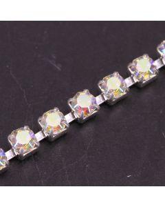 Single Row 3mm Diamante Trim (AB Crystals - Silver)
