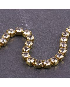 Single Row 4mm Diamante Trim (Clear Crystals - Gold)
