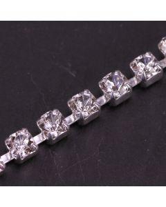 Single Row 4mm Diamante Trim (Clear Crystals - Silver)