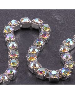 Single Row 4mm Diamante Trim (AB Crystals - Silver)