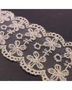 66mm Wide Fleur Dor Gold Embroiderd Lace